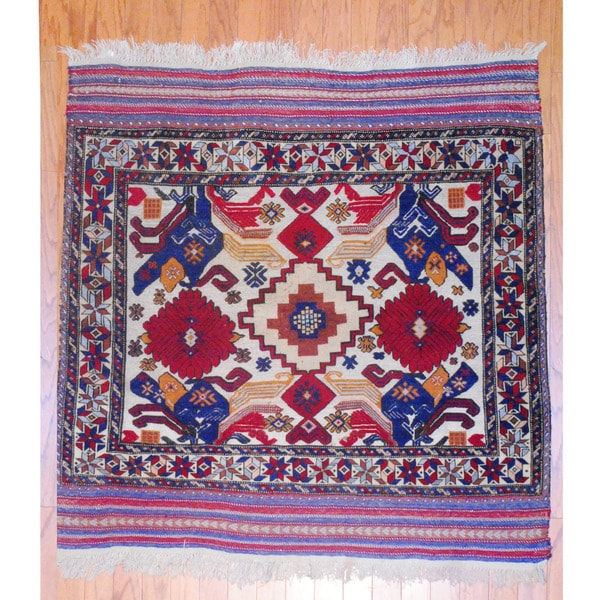 Afghan Hand-knotted Tribal Soumak Red/ Ivory Wool Rug (4'3 x 4'5)