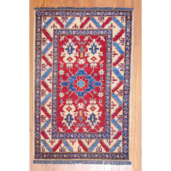 Afghan Hand-knotted Kazak Red/ Navy Wool Rug (3'4 x 5'3)