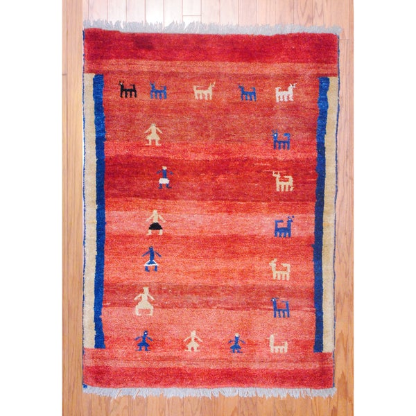Persian Hand-knotted Tribal Gabbeh Red/ Navy Wool Rug (3'5 x 5')