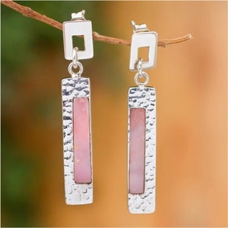 Silver 'Sweet Pink' Rose Opal Earrings (Peru)