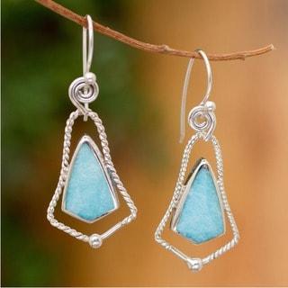 Handmade Sterling Silver 'Belles of Peru' Amazonite Earrings (Peru)