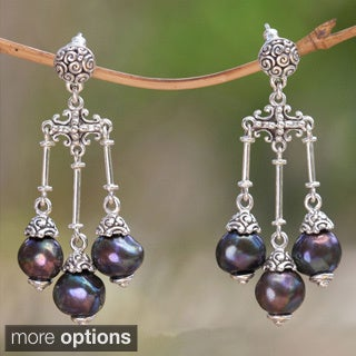 Handmade Sterling Silver Cultured Pearl Chandelier Earrings (8.5 mm) (Indonesia)