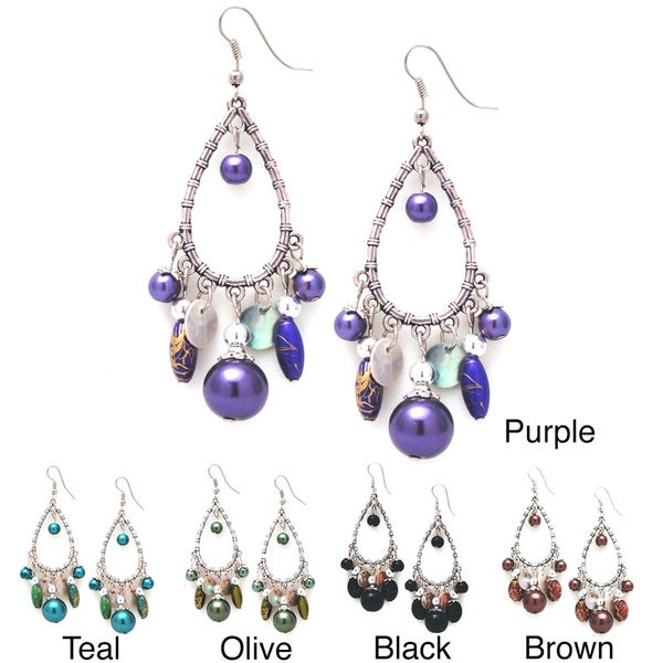 Handmade Bleek2Sheek Glass Pearl Silver Chandelier Dangle Earrings (USA)
