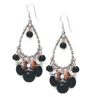 Bleek2Sheek Glass Pearl Silver Chandelier Dangle Earrings