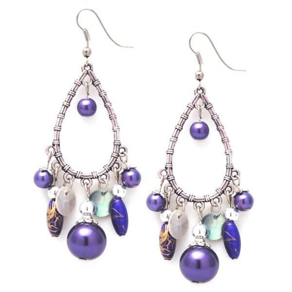 Handmade Bleek2Sheek Glass Pearl Silver Chandelier Dangle Earrings (USA)