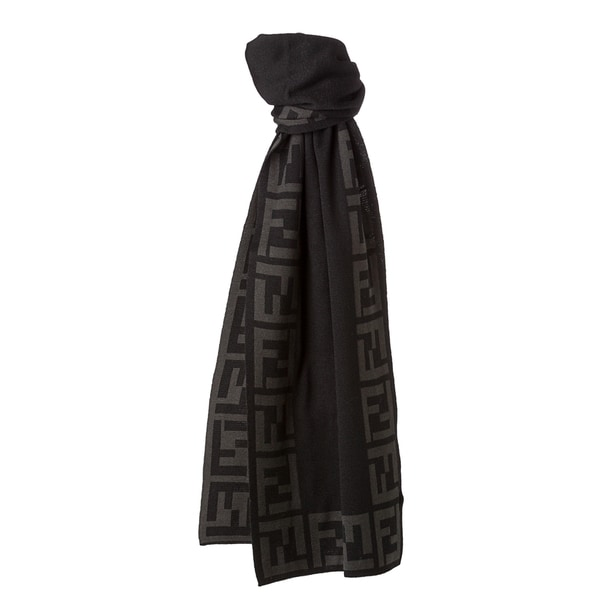 Fendi Black and Grey Zucca Border Knit Scarf