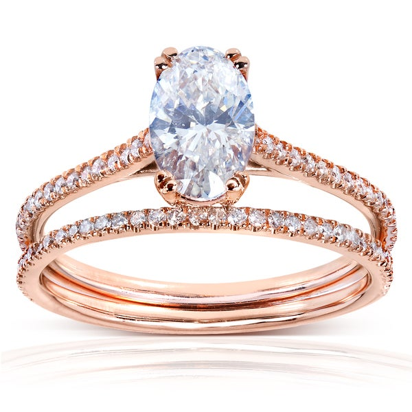 14k Rose Gold 1 1/3ct TDW Certified Diamond Bridal Ring Set (G, SI3)