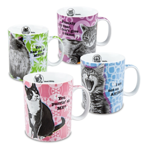 Konitz 'Assorted Cat' Porcelain Mugs (Set of 4)