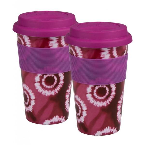 Konitz 'Batik Pink' Porcelain Medium Travel Mugs (Set of 2)