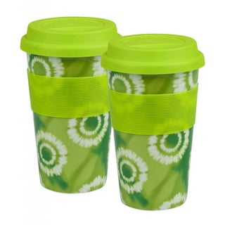 Konitz 'Batik Green' Porcelain Medium Travel Mugs (Set of 2)
