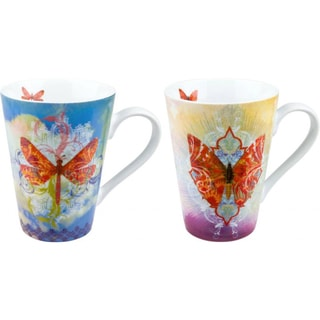 Konitz 'Walter' Butterfly/ Dragonfly Porcelain Mugs (Set of 4)