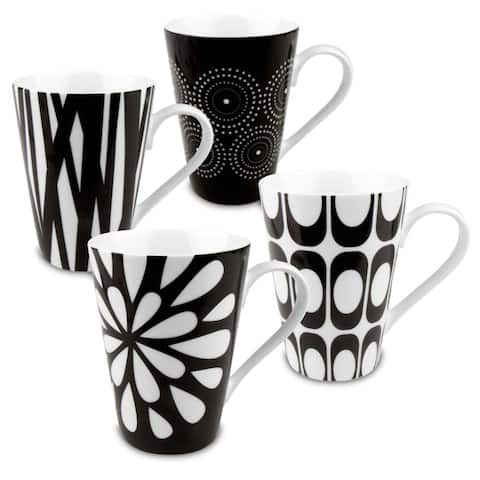 Konitz 'Assorted Design' Black/ White Porcelain Mugs (Set of 4)