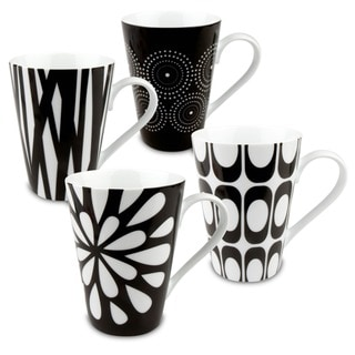 Link to Konitz 'Assorted Design' Black/ White Porcelain Mugs (Set of 4) Similar Items in Dinnerware
