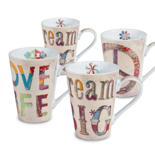 Konitz 'Peace, Dream, Love' Porcelain Mugs (Set of 4)