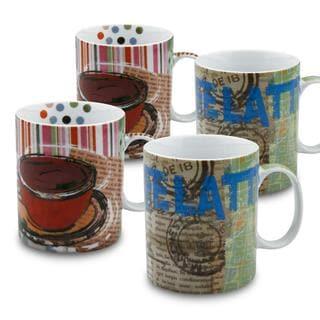 Konitz 'Fresh Brew Latte/ Coffee' Porcelain Mugs (Set of 4)