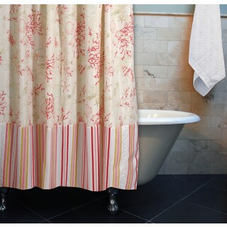 Greenland Home Fashions Coral/Seashell Red Shower Curtain