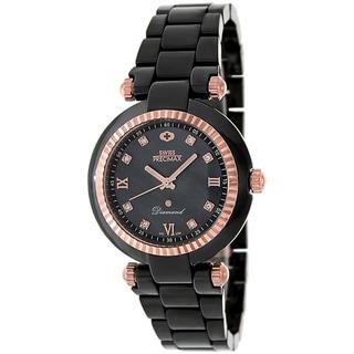 Swiss Precimax Women's Black Ceramic Avant Diamond Watch