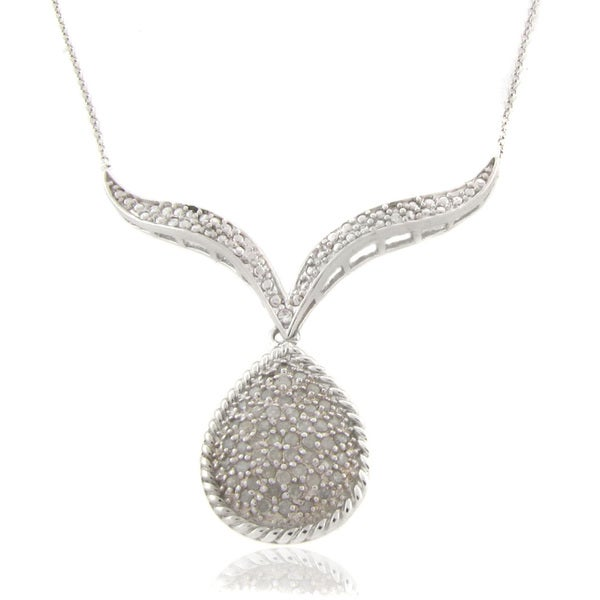 Finesque Sterling Silver 1/4ct TDW Diamond Teardrop V Necklace