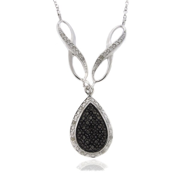 Finesque Silver 1/4ct TDW Black and White Diamond Teardrop Necklace (I-J, I2-I3)
