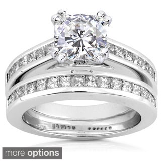 Annello by Kobelli 14k White Gold Moissanite and 1ct TDW Princess-cut Diamond Bridal Ring Set