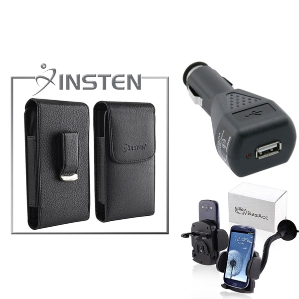 INSTEN Leather Case/ Car Charger/ Phone Holder for Apple iPhone 4/ 4S