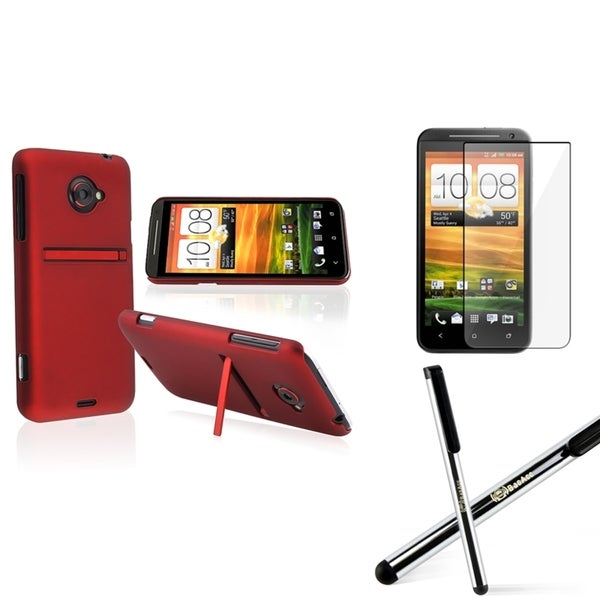 BasAcc Red Case/ Screen Protector/ Stylus for HTC EVO 4G LTE