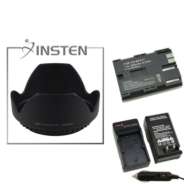 INSTEN Battery/ Charger Set/ Lens Hood for Canon EOS 30D/ 300D