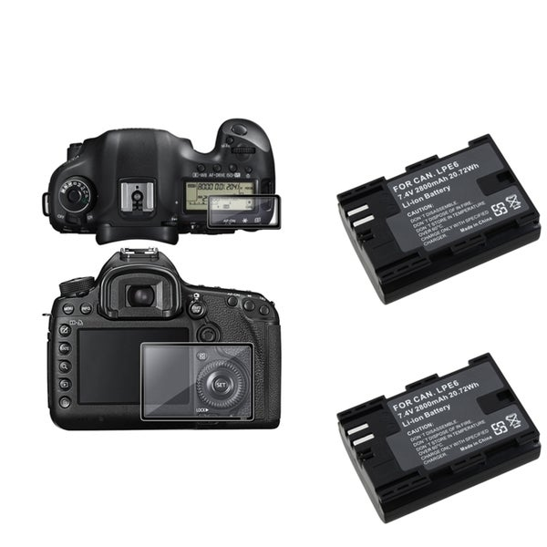 BasAcc LCD Protector Glass/ Battery for Canon EOS 5D/ Mark III/ 5D3