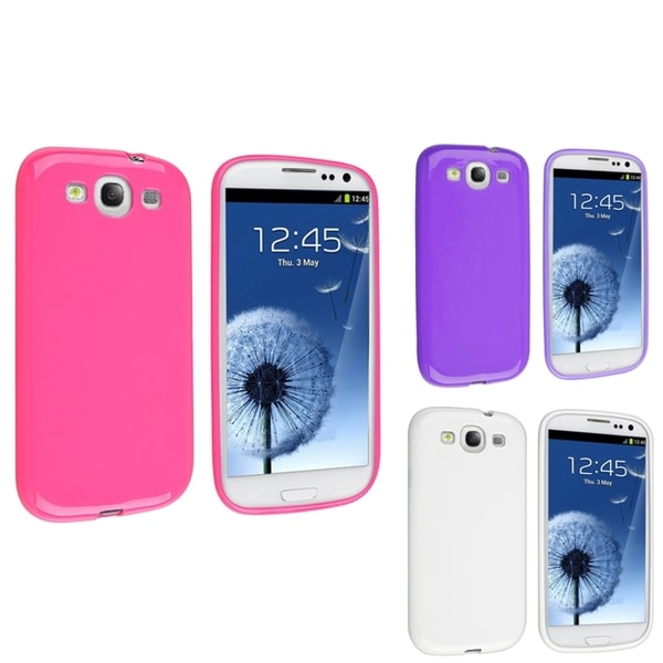 INSTEN Pink/ White/ Purple TPU Phone Case Cover for Samsung Galaxy S3/ SIII i9300