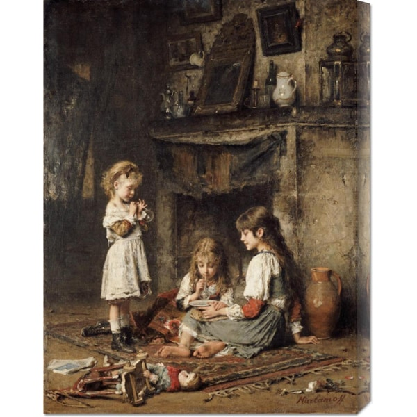Global Gallery Alexei Alexeiewitsch Harlamoff 'Blowing Bubbles' Stretched Canvas Art