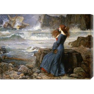 Global Gallery John William Waterhouse 'Miranda - The Tempest' Stretched Canvas Art - Multi