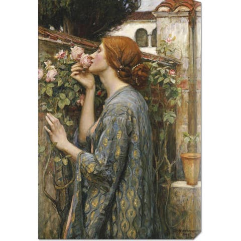 Global Gallery John William Waterhouse 'The Soul of The Rose' Stretched Canvas Art - Grey/Brown
