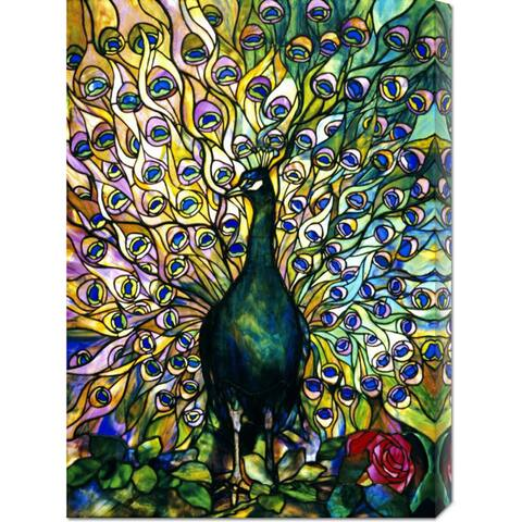 Global Gallery Tiffany Studios 'Fine Peacock' Stretched Canvas Art