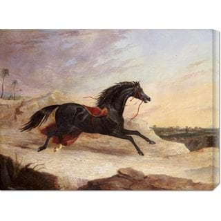 Global Gallery John Frederick Herring 'Arabs Chasing a Loose Arab Horse In An Eastern Landscape' Stretched Canvas A