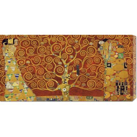Global Gallery Gustav Klimt 'Tree of Life Red Variation' Stretched Canvas Art
