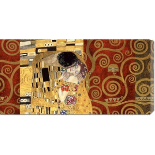 Global Gallery Klimt Patterns 'The Kiss Gold' Stretched Canvas Art
