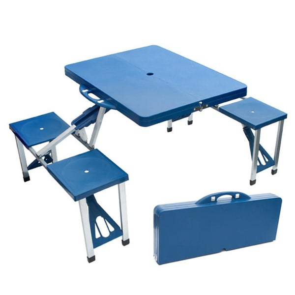 Portable Blue Folding Picnic Table with Seating for Four