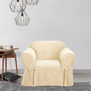 Sure Fit Smooth Suede Cream Chair Slipcover
