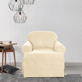 Sure Fit Soft Suede Cream T-Cushion Chair Slipcover