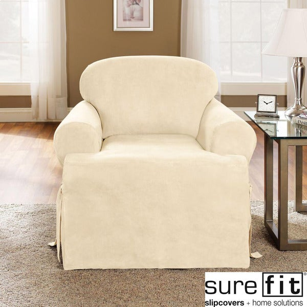 sure fit soft suede cream t cushion chair slipcover free shipping