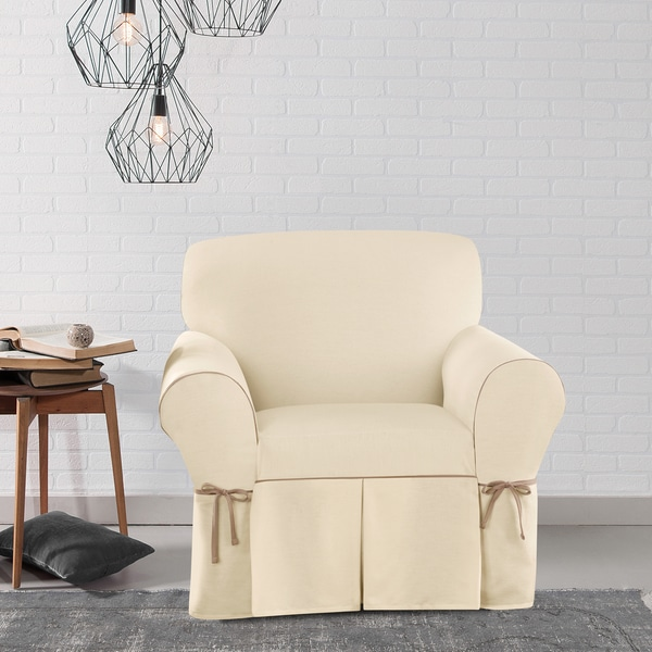 Sure Fit Contrast Cord Duck Natural Chair Slipcover