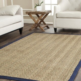 Safavieh Casual Natural Fiber Herringbone Natural and Blue Border Seagrass Rug (8' Square)