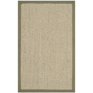 Safavieh Casual Natural Fiber Hand-Woven Resorts Natural / Green Tiger Weave Sisal Runner (2' 6 x 4'