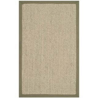 "Safavieh Casual Natural Fiber Hand-Woven Resorts Natural / Green Tiger Weave Sisal Runner - 2'6"" x 4'"