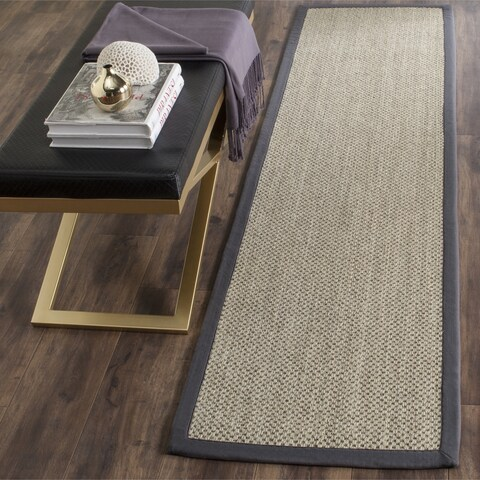 Safavieh Casual Natural Fiber Hand-Woven Resorts Natural / Grey Fine Sisal Runner Rug - 2' 6 x 14'