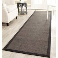 "Safavieh Casual Natural Fiber Charcoal and Charcoal Border Sisal Runner Rug - 2'6"" x 20'"