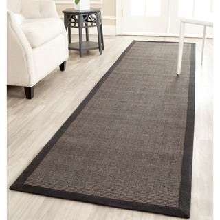 "Safavieh Casual Natural Fiber Charcoal and Charcoal Border Sisal Runner - 2'6"" x 16'"