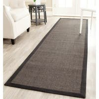 Safavieh Casual Natural Fiber Charcoal and Charcoal Border Sisal Runner - 2'6 x 12'