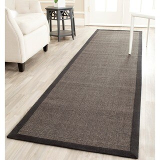 "Safavieh Casual Natural Fiber Charcoal and Charcoal Border Sisal Runner - 2'6"" x 10'"