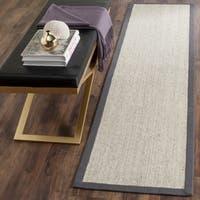 Safavieh Casual Natural Fiber Hand-Woven Serenity Marble / Grey Sisal Rug (2' 6 x 14')